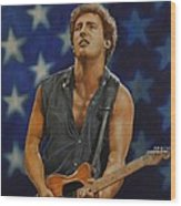 Bruce Springsteen 'born In The Usa' Wood Print by David Dunne