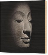 Buddha Head From The Early Ayutthaya Period Wood Print by Siamese School