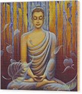 Buddha Meditation Wood Print by Yuliya Glavnaya