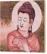 Buddha Red  Wood Print by Loganathan E