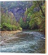 Buffalo River Downstream Wood Print by Marty Koch