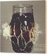 Bullet Piercing Glass Of Soda Wood Print by Gary S. Settles