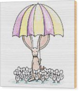 Bunny With Umbrella Wood Print by Christy Beckwith