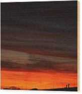 Burning Night Time Sky Wood Print by John Telfer