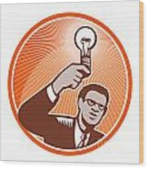 Businessman Holding Lightbulb Woodcut Wood Print by Aloysius Patrimonio