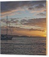 Bvi Sunset Wood Print by Adam Romanowicz