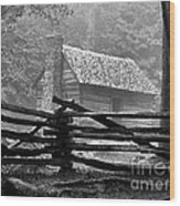 Cabin In The Fog Wood Print by Julie Dant
