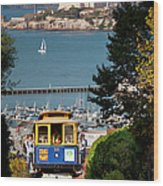 Cable Car In San Francisco Wood Print by Brian Jannsen