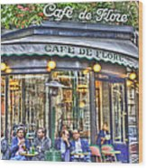 Cafe Flore In Summer Wood Print by Matthew Bamberg
