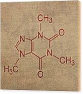 Caffeine Molecule Coffee Fanatic Humor Art Poster Wood Print by Design Turnpike