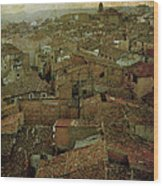 Calahorra Roofs From The Bell Tower Of Saint Andrew Church Wood Print by RicardMN Photography