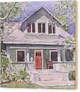 California Craftsman Cottage Wood Print by Patricia Pushaw