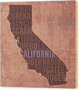 California Word Art State Map On Canvas Wood Print by Design Turnpike