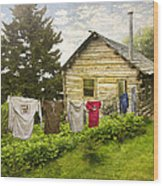 Camp Leconte Wood Print by Debra and Dave Vanderlaan