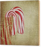 Candy Canes Wood Print by Kim Hojnacki