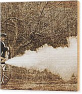 Cannon Fire Wood Print by Mark Miller