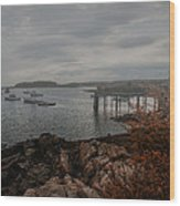 Cape Porpoise Fog Rolls In Wood Print by Bob Orsillo