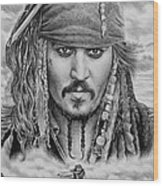 Captain Jack Sparrow Wood Print by Andrew Read