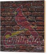 Cardinals Baseball Graffiti On Brick  Wood Print by Movie Poster Prints