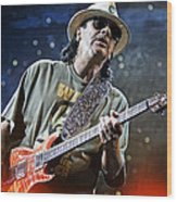 Carlos Santana On Guitar 2 Wood Print by Jennifer Rondinelli Reilly - Fine Art Photography