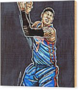 Carmelo Anthony Wood Print by Dave Olsen