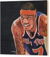 Carmelo Anthony - New York Knicks Wood Print by Michael  Pattison
