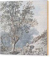Cart And Horse Wood Print by Joseph Constantine Stadler