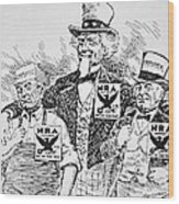 Cartoon Depicting The Impact Of Franklin D Roosevelt  Wood Print by American School