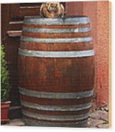 Cat Guarding A Wine Barrel In Alsace Wood Print by Greg Matchick
