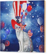 Cat In Patriotic Hat Wood Print by Carol Cavalaris