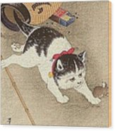 Cat Wood Print by Pg Reproductions