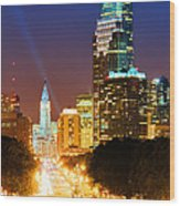 Center City Philadelphia Night Wood Print by Olivier Le Queinec