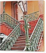 Charleston Staircase Street Lamps Architecture Wood Print by Kathy Fornal