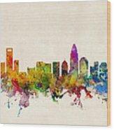 Charlotte North Carolina Skyline Wood Print by Michael Tompsett