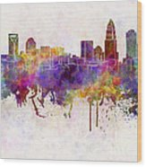 Charlotte Skyline In Watercolor Background Wood Print by Pablo Romero