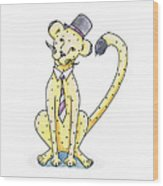 Cheetah In A Top Hat Wood Print by Christy Beckwith