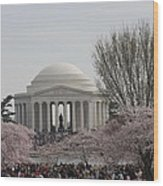 Cherry Blossoms With Jefferson Memorial - Washington Dc - 01132 Wood Print by DC Photographer