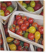Cherry Tomatos Wood Print by Carlos Caetano