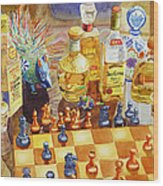 Chess And Tequila Wood Print by Mary Helmreich