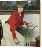 Chica In A Bar Wood Print by Ramon Casas i Carbo