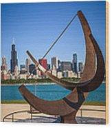 Chicago Adler Planetarium Sundial And Chicago Skyline Wood Print by Paul Velgos