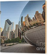 Chicago Bean Cloud Gate Sculpture Reflection Wood Print by Paul Velgos