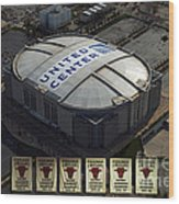 Chicago Bulls Banners Wood Print by Thomas Woolworth