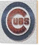 Chicago Cubs Mosaic Wood Print by David Bearden
