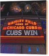 Chicago Cubs Win Fireworks Night Wood Print by Steve Gadomski