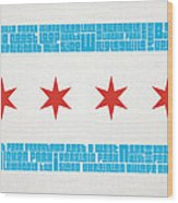 Chicago Flag Neighborhoods Wood Print by Mike Maher