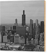 Chicago Looking West 01 Black And White Wood Print by Thomas Woolworth