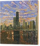 Chicago Wood Print by Mike Rabe
