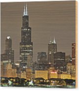 Chicago Skyline At Night Wood Print by Sebastian Musial