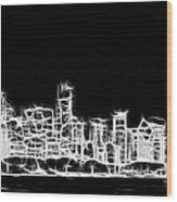 Chicago Skyline Fractal Black And White Wood Print by Adam Romanowicz